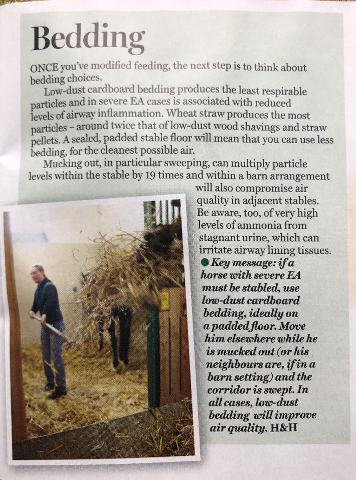 Horse and Hound Article Low Dust Straw Pellet Bedding